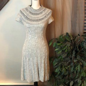 Free People Grey Cable Knit Sweater Dress
